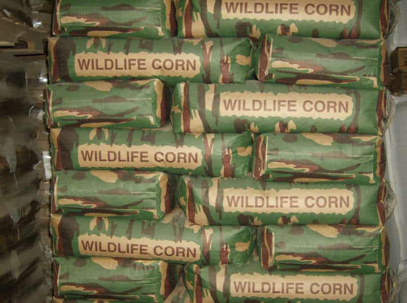 Stacked bags of corn